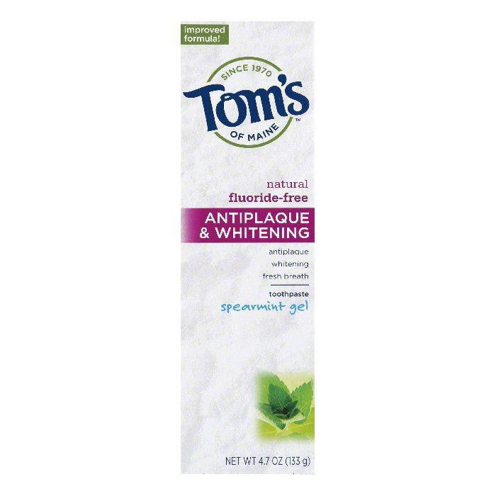 Tom's of Maine Fluoride-Free & Whitening Spearmint, 4.7 OZ (Pack of 1)