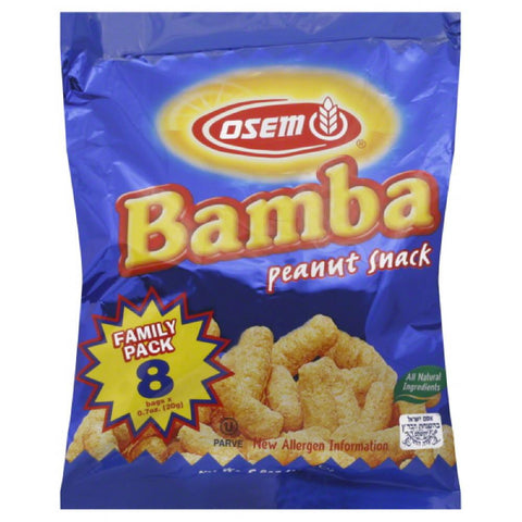 Osem Family Pack Bamba Peanut Snack, 0.7 Oz (Pack of 6)