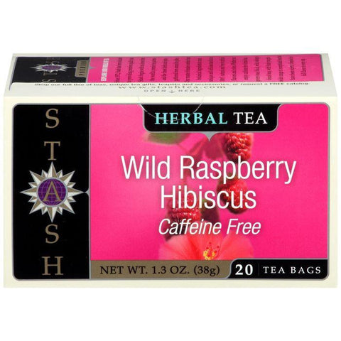Stash Wild Raspberry Hibiscus Caffeine Free Herbal Tea Bags 20 ct (Pack of 6)
