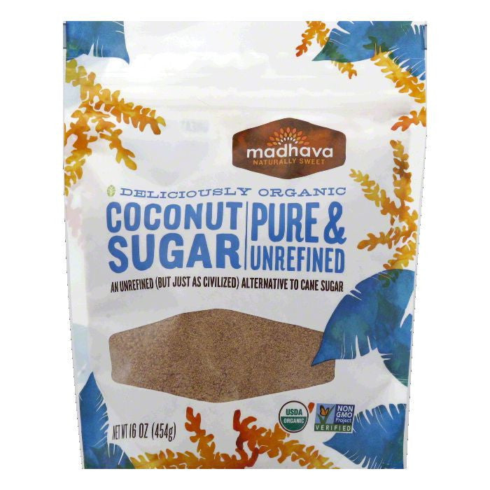 Madhava Organic Coconut Sugar, 16 Oz (Pack of 6)