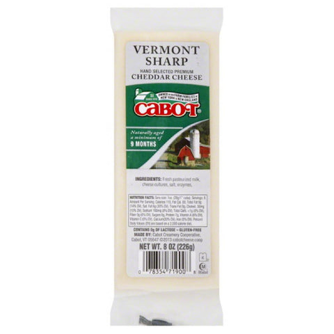 Cabot Vermont Sharp Cheddar Cheese, 8 Oz (Pack of 12)