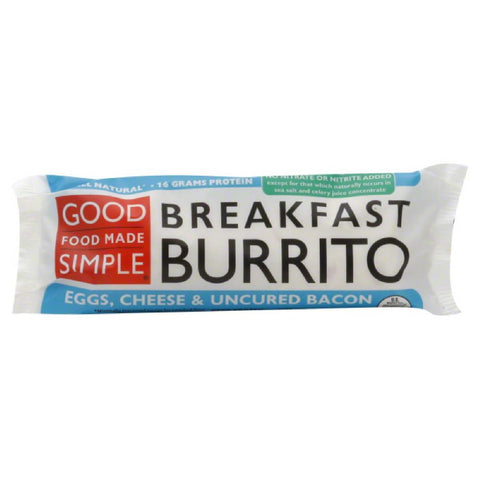 Good Food Made Simple Cheese & Uncured Bacon Eggs Breakfast Burrito, 5 Oz (Pack of 12)