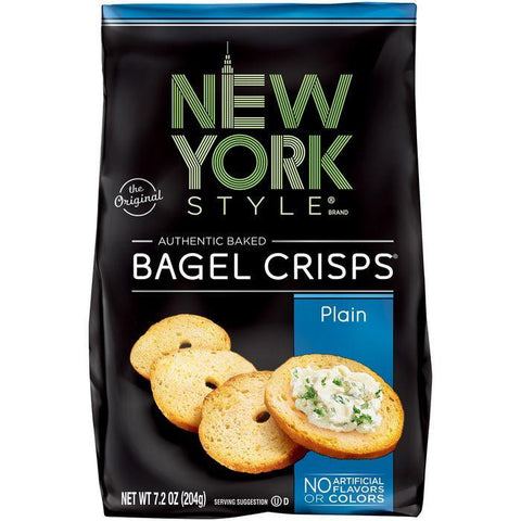 New York Style Plain Bagel Crisps 7.2 Oz Bag (Pack of 12)