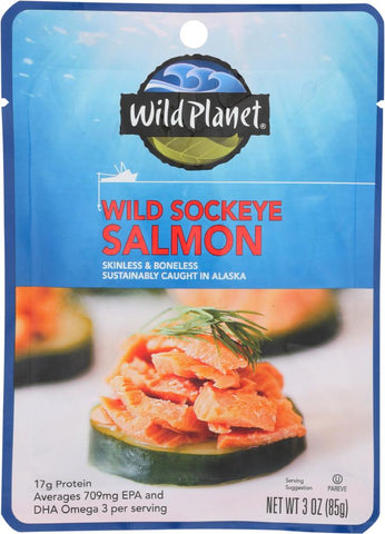 Wild Planet Wild Sockeye Salmon Pouches, 3 Oz (Pack of 12)