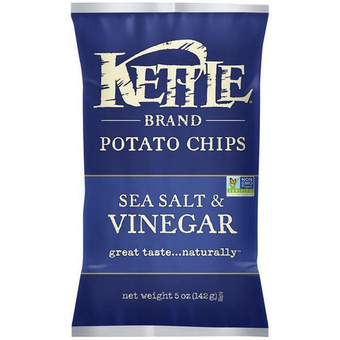 Kettle Brand Sea Salt & Vinegar Potato Chips 5 Oz Bag (Pack of 15)