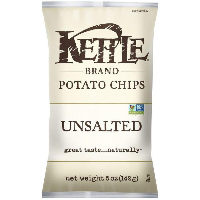Kettle Brand Unsalted Potato Chips 5 Oz Bag (Pack of 15)