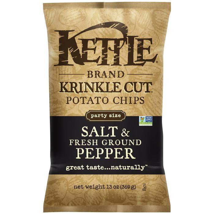 Kettle Brand Krinkle Cut Salt & Fresh Ground Pepper Potato Chips 13 Oz Bag (Pack of 9)