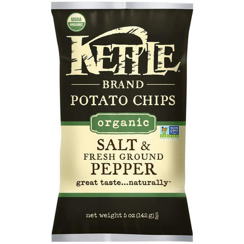 Kettle Brand Organic Salt & Fresh Ground Pepper Potato Chips 5 Oz Bag (Pack of 15)
