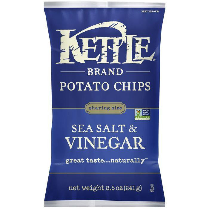 Kettle Brand Sea Salt & Vinegar Potato Chips 8.5 Oz Bag (Pack of 12)