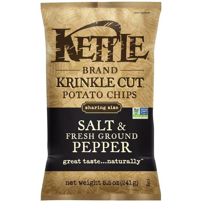 Kettle Brand Krinkle Cut Salt & Fresh Ground Pepper Potato Chips 8.5 Oz Bag (Pack of 12)