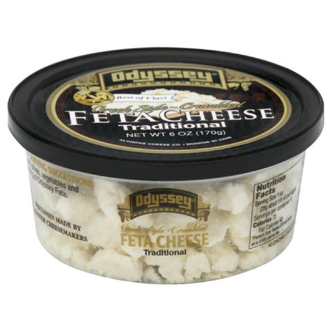 Odyssey Traditional Greek Style Feta Crumbled Cheese, 6 Oz (Pack of 12)