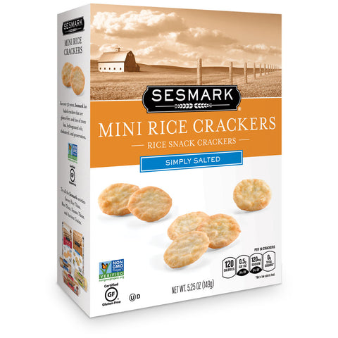 Sesmark Mini Rice Crackers, Simply Salted, 5.25 Oz (Pack of 6)