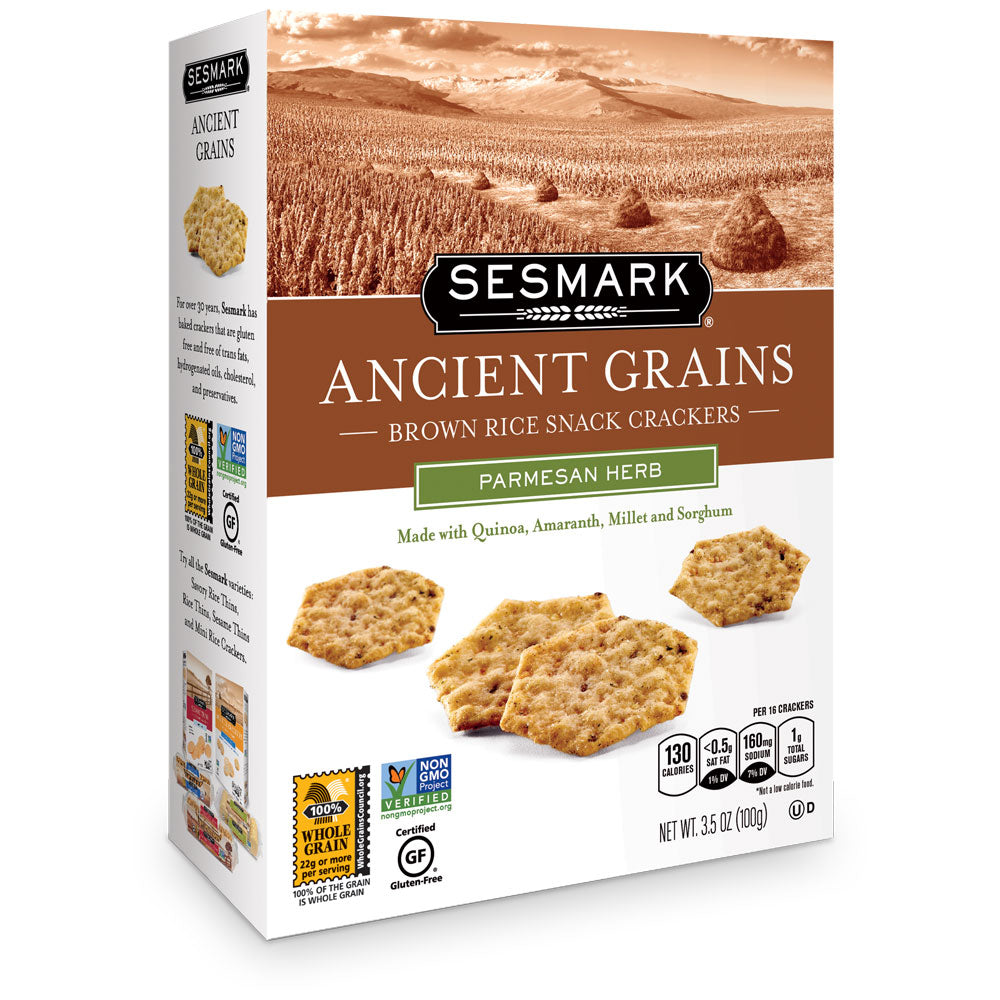 Sesmark Ancient Grains, Parmesan Herb, 3.5 OZ (Pack of 6)