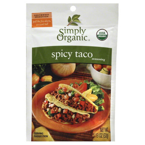 Simply Organic Spicy Taco Seasoning, 1.13 Oz (Pack of 12)
