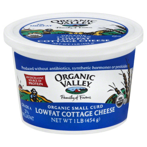 Organic Valley Lowfat 2% Milkfat Small Curd Organic Cottage Cheese, 16 Oz (Pack of 6)