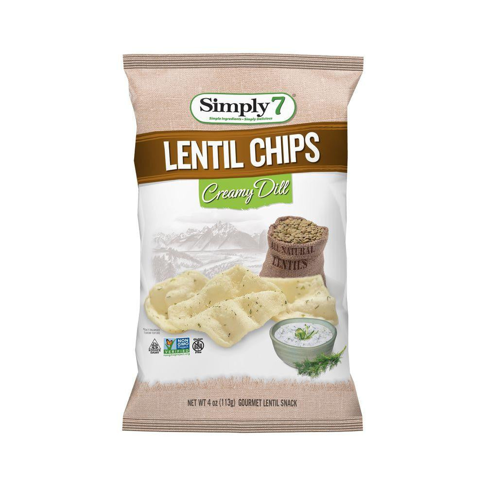 Simply 7 Creamy Dill Lentil Chip, 4 OZ (Pack of 12)