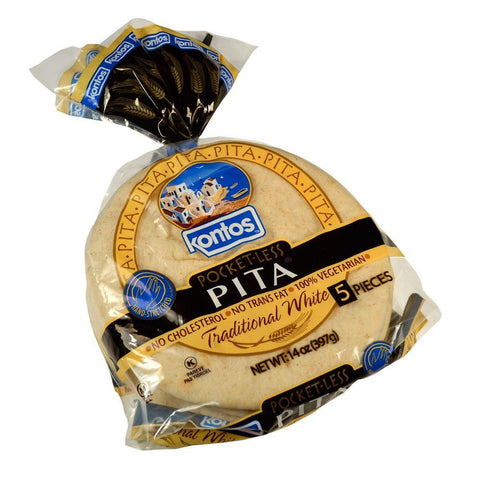 Kontos Traditional White Pocket-Less Pita, 14 Oz (Pack of 12)