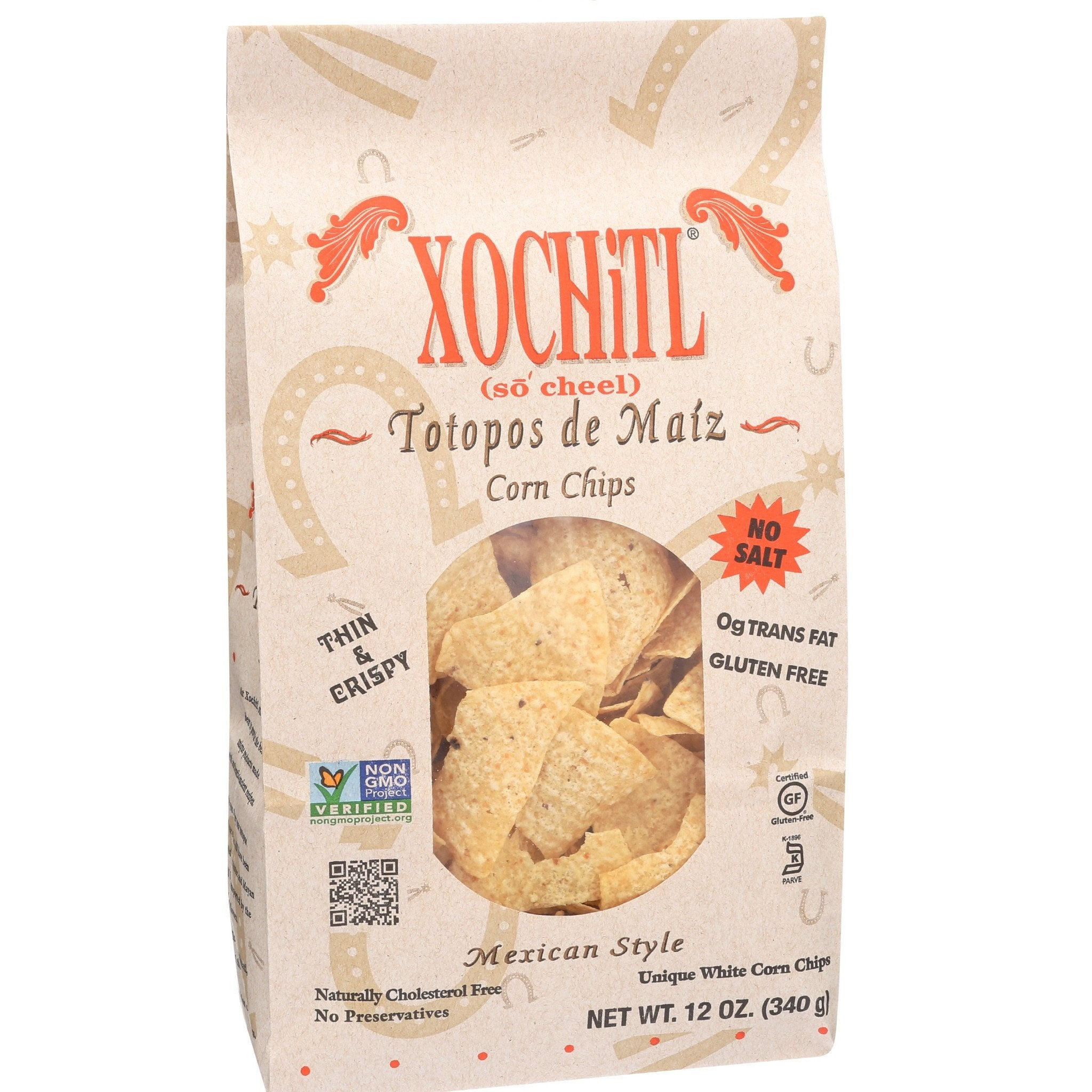 Xochitl No Salt Corn Chips, 12 OZ (Pack of 10)