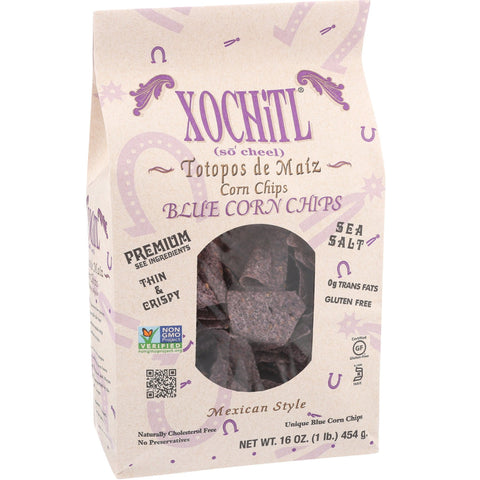 Xochitl Mexican Style Blue Corn Chips, 16 Oz (Pack of 9)