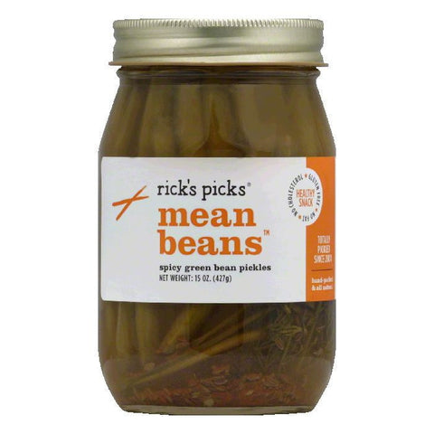 Rick's Picks Spicy green bean pickles Mean Beans, 15 OZ (Pack of 6)