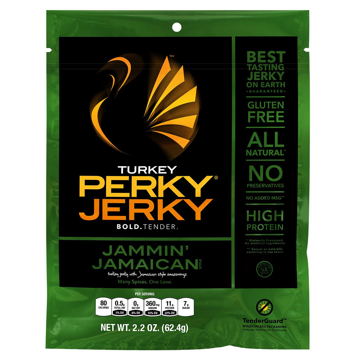 Perky Jerky Jammin' Jamaican Turkey, 2.2 Oz (Pack of 12)