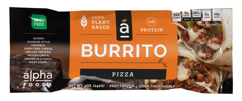 Alpha Foods Vegan Pizza Burrito, 5 Oz (Pack of 12)