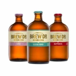 Brew Dr. Kombucha Organic Three Flavor Variety Pack, 14 oz. 6 Count; Clear Mind, Love, Happiness (2 Of Each)