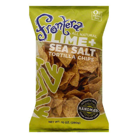 Frontera Lime + Sea Salt Tortilla Chips, 10 OZ (Pack of 12)
