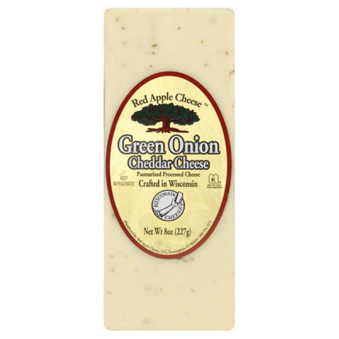 Red Apple Cheese Green Onion Cheddar Cheese, 8 Oz (Pack of 12)