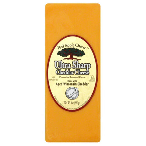 Red Apple Cheese Ultra Sharp Cheddar Cheese, 8 Oz (Pack of 12)