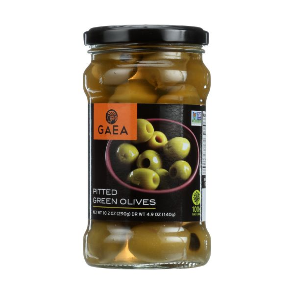 GAEA Pitted Green Olives, 4.9 OZ (Pack of 8)