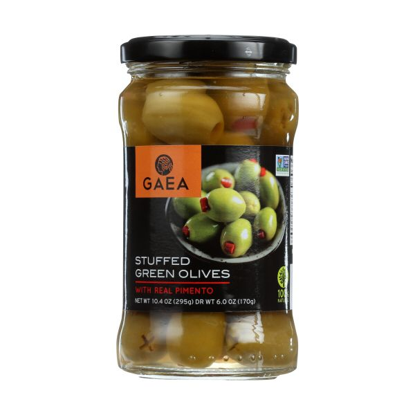 GAEA Stuffed Green Olives with Real Pimento, 6.0 OZ (Pack of 8)
