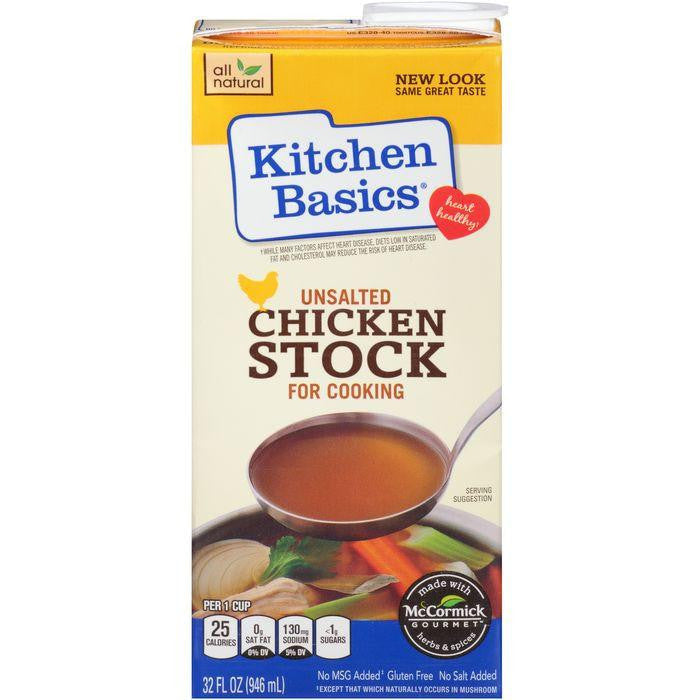Kitchen Basics Unsalted Chicken Stock for Cooking 32 fl. Oz Carton (Pack of 12)