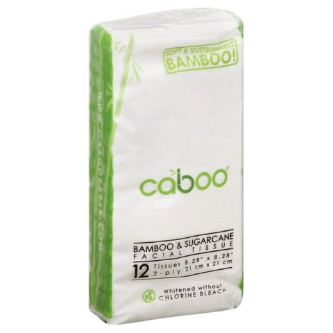 Caboo 2 Ply Bamboo & Sugarcane Facial Tissue, 1 Ea (Pack of 8)