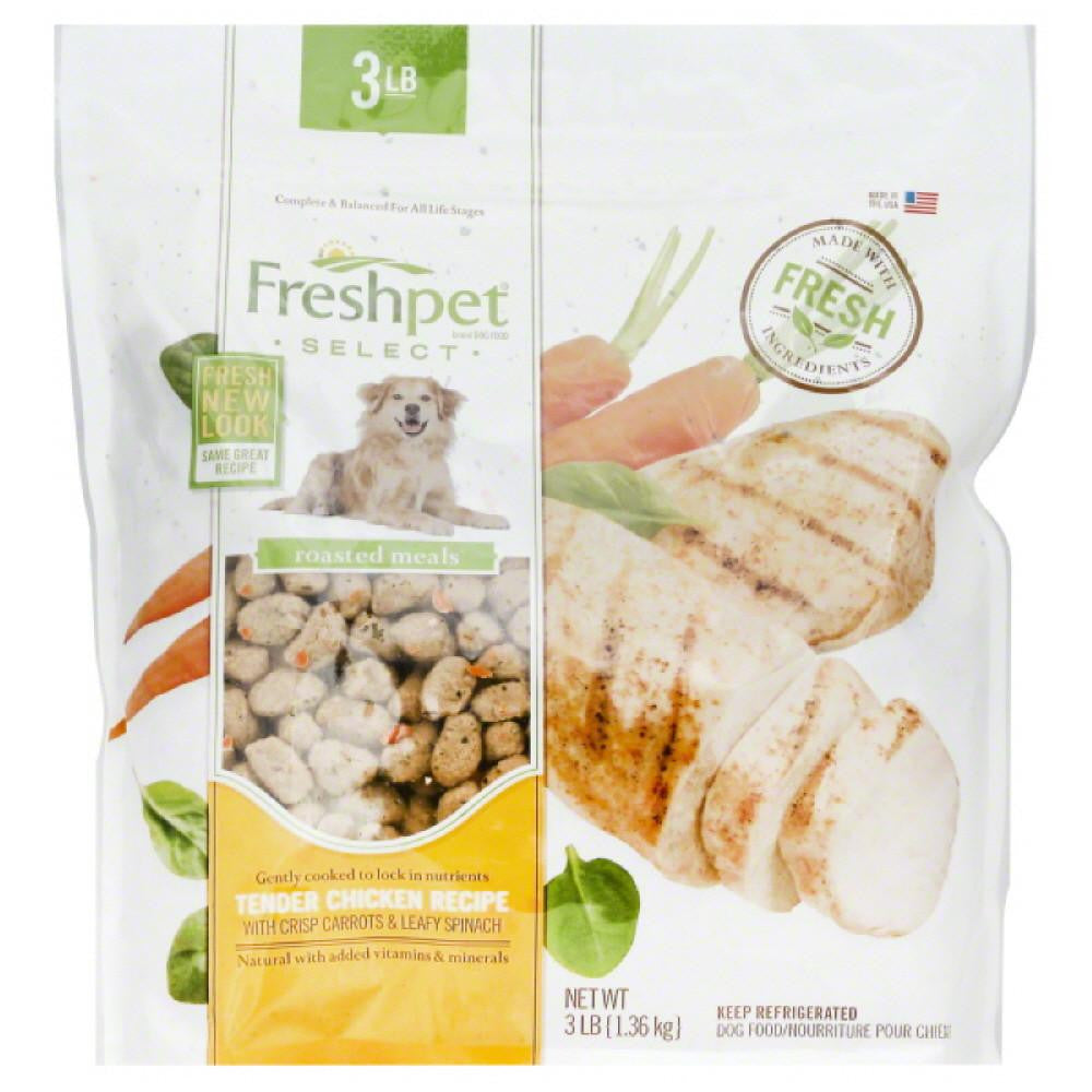 Freshpet Tender Chicken Recipe with Crisp Carrots & Leafy Spinach Dog Food, 3 Lb (Pack of 4)