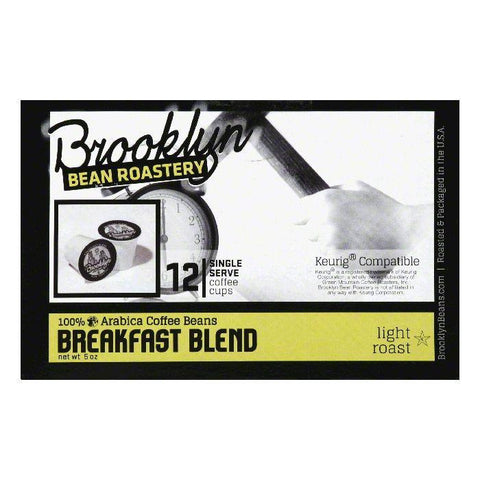 Brooklyn Bean Roastery Breakfast Blend Light Roast Single Serve Coffee Cups, 12 PC (Pack of 6)