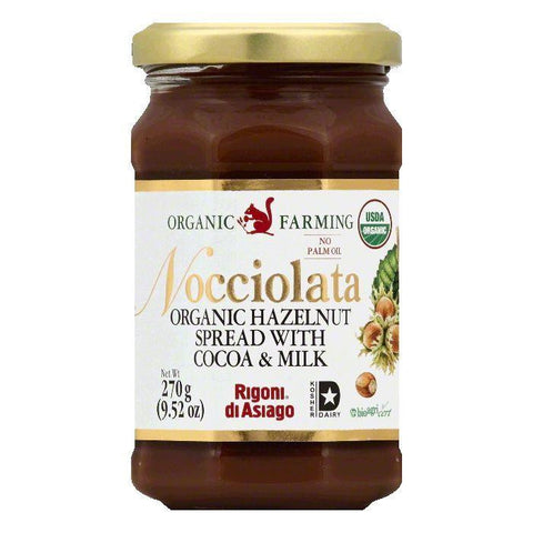 Rigoni Di Asiago Organic Hazelnut Spread with Cocoa & Milk, 9.52 OZ (Pack of 6)
