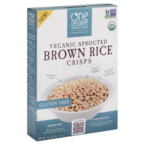 One Degree Organic Foods Veganic Sprouted Brown Rice Crisps, 8 Oz (Pack of 6)