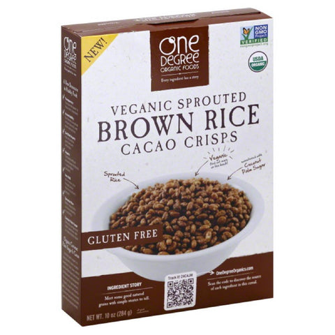 One Degree Organic Foods Veganic Sprouted Brown Rice Cacao Crisps Cereal, 10 Oz (Pack of 6)