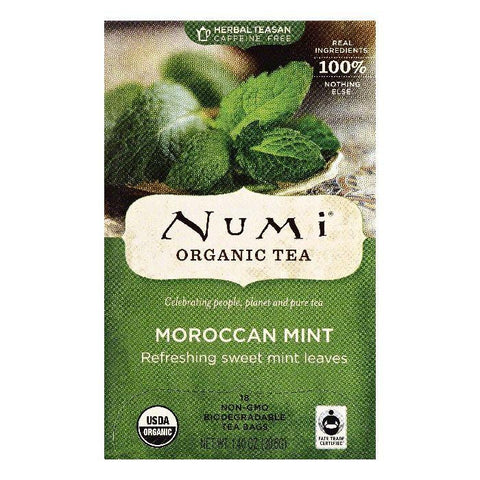 Numi Bags Caffeine Free Moroccan Mint Organic Tea, 18 ea (Pack of 6)