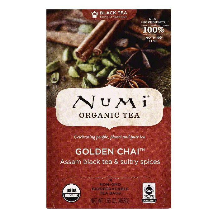 Numi Bags Golden Chai Organic Black Tea, 18 ea (Pack of 6)