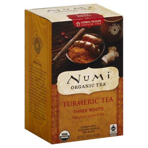 Numi Tea Bags Three Roots Turmeric Tea, 12 Bg (Pack of 6)