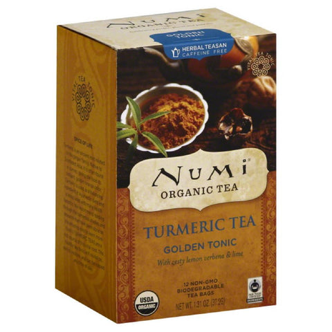 Numi Golden Tonic Caffeine Free Turmeric Tea Tea Bags, 12 Bg (Pack of 6)