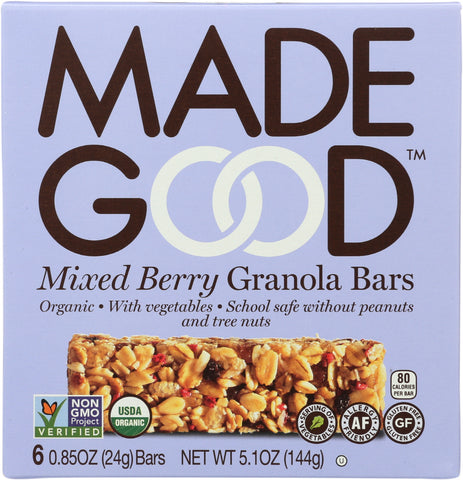 MadeGood Mixed Berry Granola Bars, 5.1 Oz (Pack of 6)