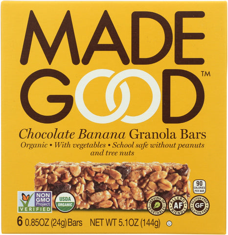 MadeGood Chocolate Banana Granola Bars, 5.1 Oz (Pack of 6)