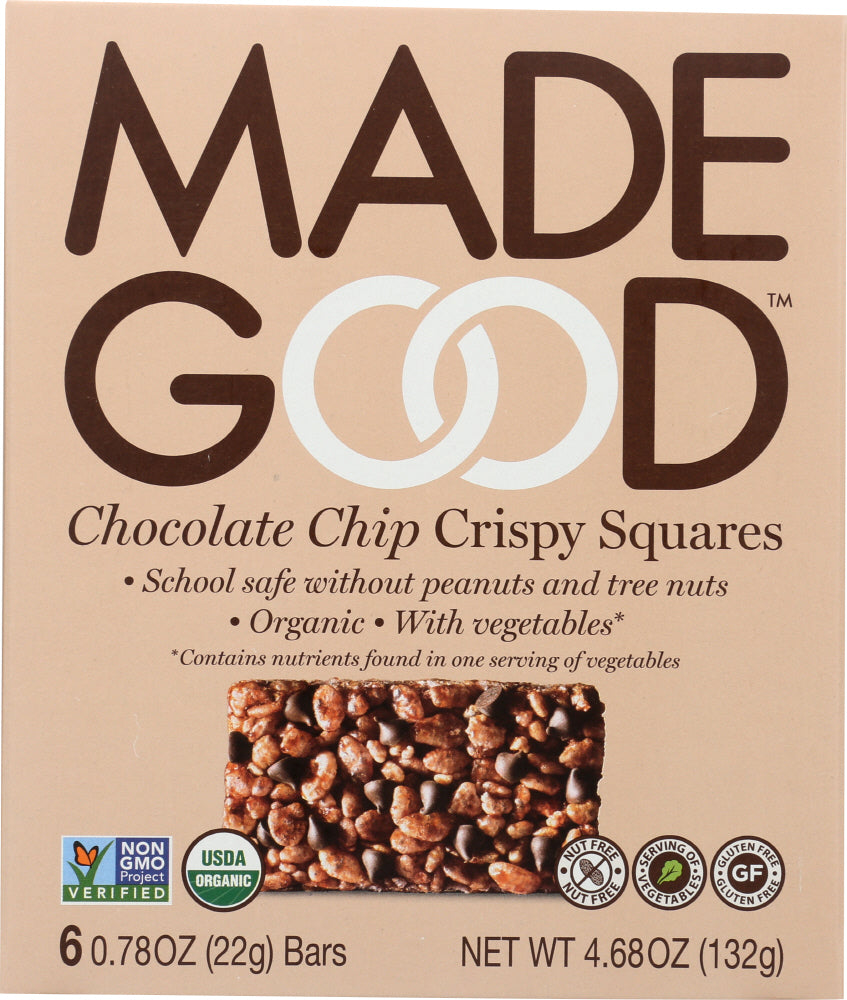 MadeGood Chocolate Chip Crispy Squares, 4.68 Oz (Pack of 6)