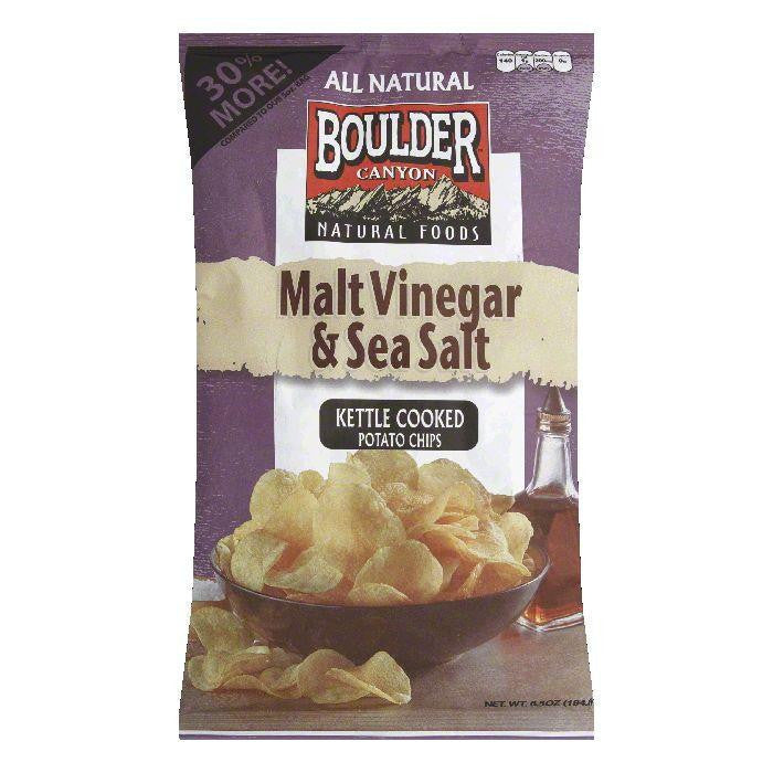 Boulder Canyon Malt Vinegar & Sea Salt Kettle Cooked Potato Chips, 6.5 Oz (Pack of 12)