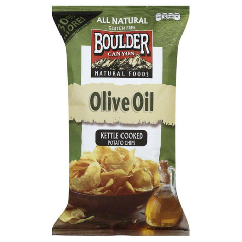Boulder Canyon Olive Oil Kettle Cooked Potato Chips, 6.5 Oz (Pack of 12)