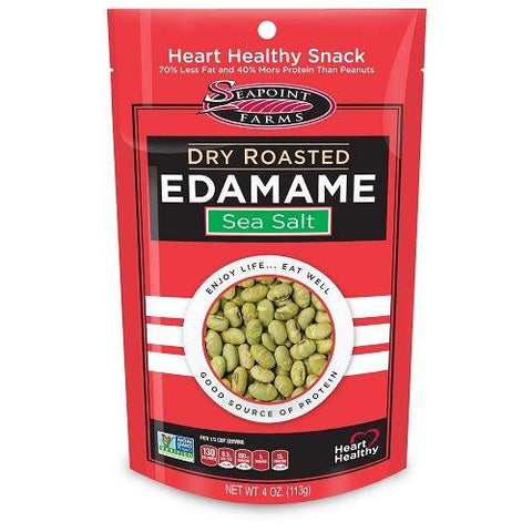 Seapoint Farms Dry Roasted Edamame Sea Salt 4 oz. Bag (Pack of 12)