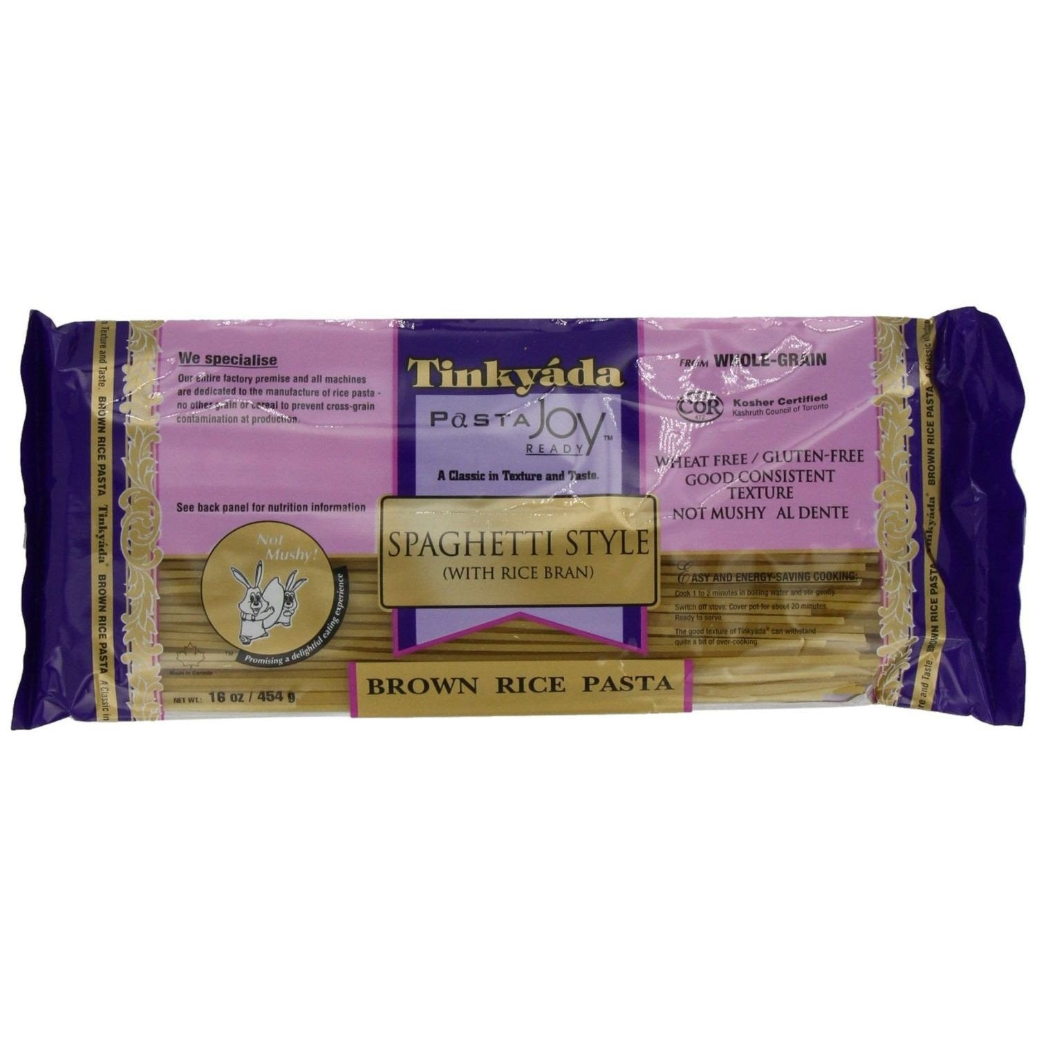 Tinkyada Brown Rice Spaghetti with Rice Bran, 16 Oz (Pack of 12)